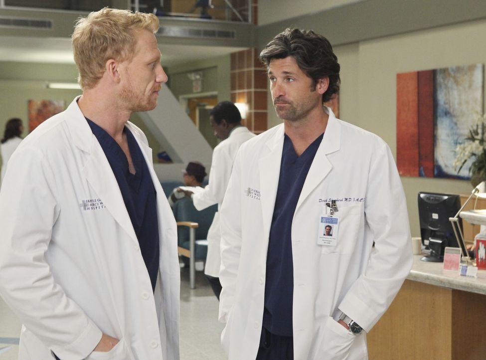 Während April von ihrem neuen Job als Stationsärztin vollkommen überfordert ist, haben Derek (Patrick Dempsey, r.) und Owen (Kevin McKidd, l.) we... - Bildquelle: ABC Studios