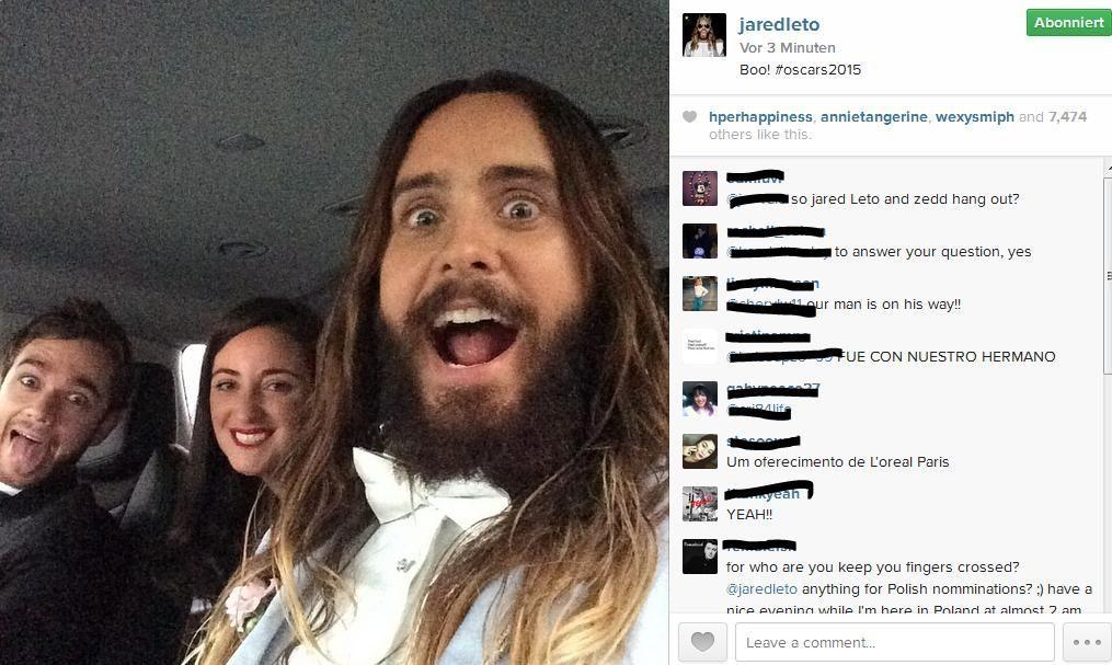Jared Leto Selfie - Bildquelle: https://instagram.com/jaredleto/