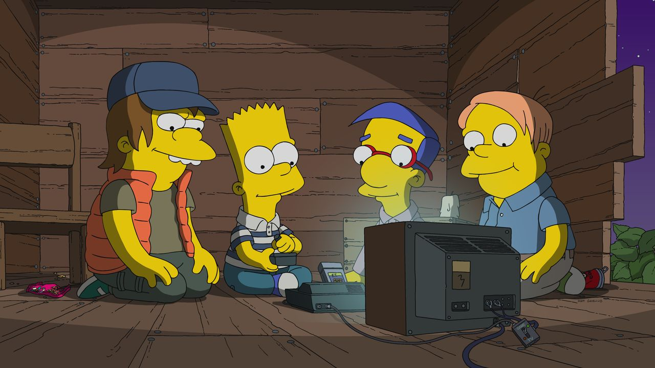 (v.l.n.r.) Nelson; Bart; Milhouse; Martin - Bildquelle: 2019-2020 Twentieth Century Fox Film Corporation.  All rights reserved.