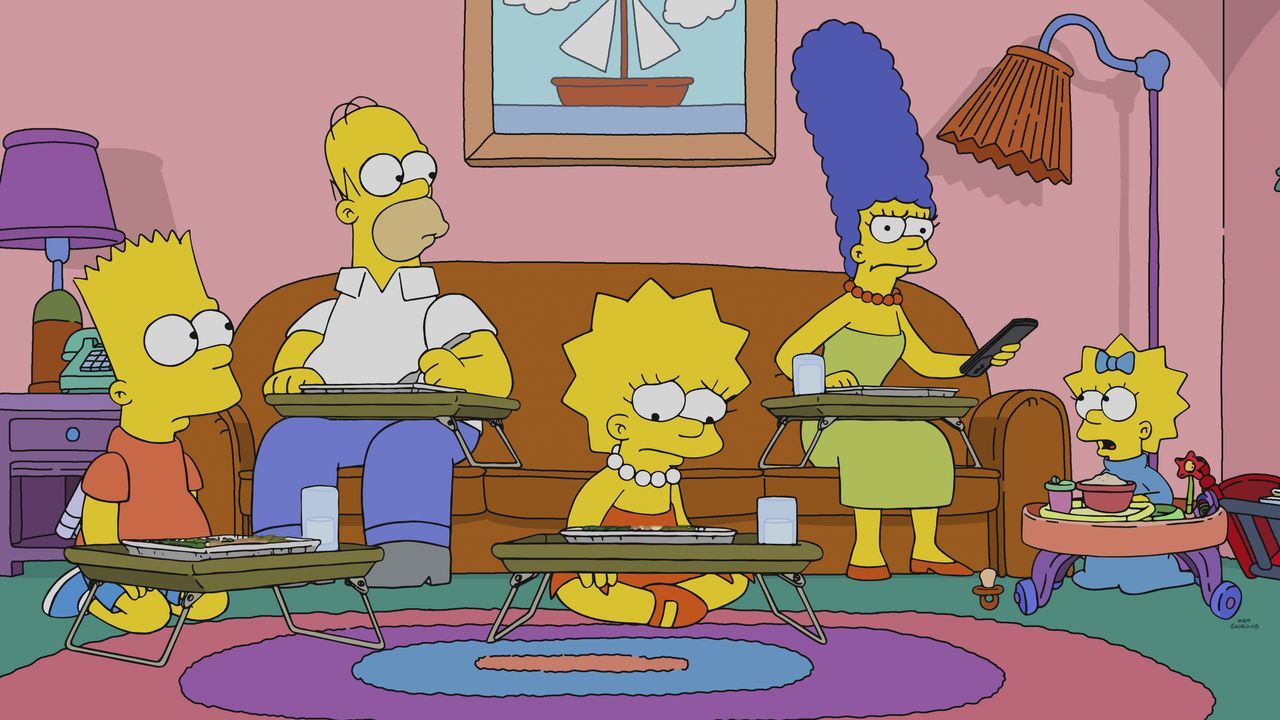 (v.l.n.r.) Bart; Homer; Lisa; Marge; Maggie - Bildquelle: 2018-2019 Fox and its related entities. All rights reserved.