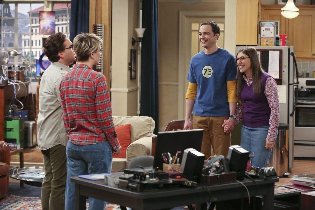 Sheldon (Jim Parsons, 2.v.r.) und Amy (Mayim Bialik, r.) haben aufregende Neuigkeiten für Leonard (Johnny Galecki, l.) und Penny (Kaley Cuoco, 2.v.l... - Bildquelle: Warner Bros. Television
