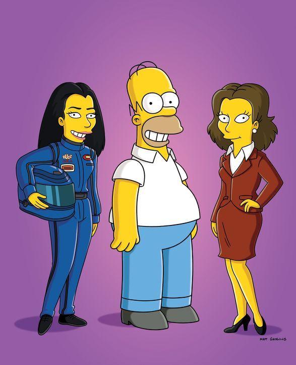 Rennfahrerin Danica Patrick (l.) und Schauspielerin Rachel Weisz (r.) erscheinen in Homers (M.) Gedanken ... - Bildquelle: und TM Twentieth Century Fox Film Corporation - Alle Rechte vorbehalten