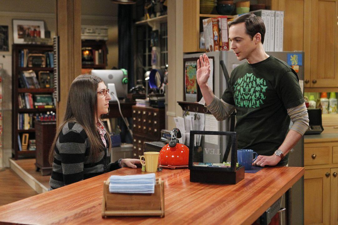 Sind sich nicht einig, in welchen Partnerkostümen sie zur Halloween-Party gehen wollen: Amy (Mayim Bialik, l.) und Sheldon (Jim Parsons, r.) ... - Bildquelle: Warner Bros. Television