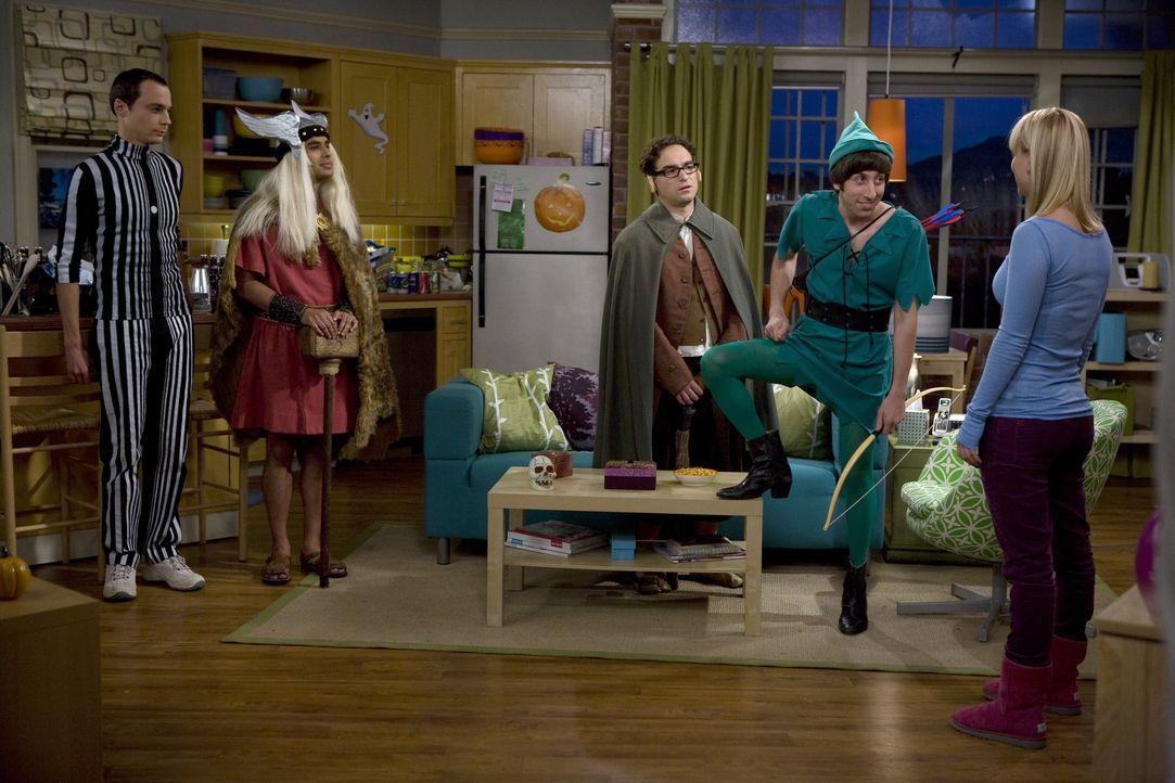 Penny (Kaley Cuoco, r.) lädt Leonard (Johnny Galecki, M.), Sheldon (Jim Parsons, l.), Howard (Simon Helberg, 2.v.r.) und Raj (Kunal Nayyar, 2.v.l.)... - Bildquelle: Warner Bros. Television