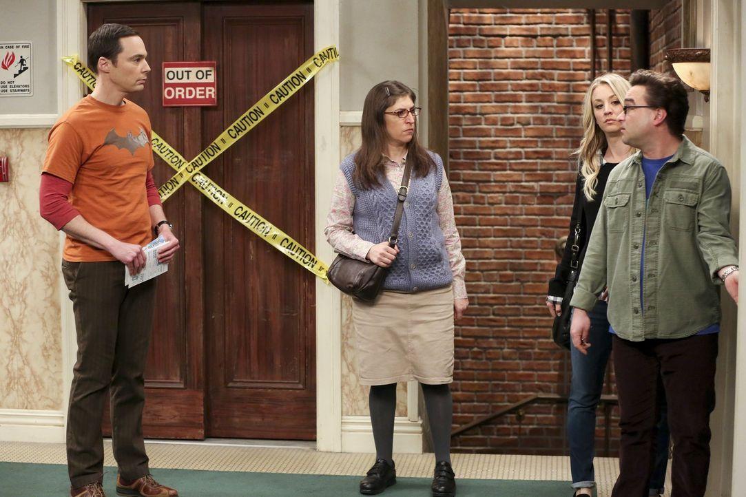 Wer wird den obdachlosen Raj aufnehmen müssen? (v.l.n.r.) Sheldon (Jim Parsons) und Amy (Mayim Bialik) oder Penny (Kaley Cuoco) und Leonard (Johnny... - Bildquelle: 2016 Warner Brothers