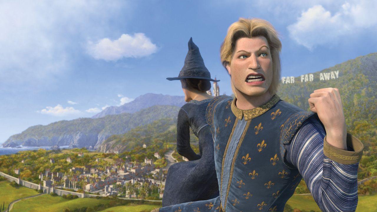 Während Shreks Abwesenheit geht es am Königshofe drunter und drüber: Prinz Charming versucht mal wieder mit List und Tücke, den Thron an sich zu... - Bildquelle: TM &   2007 Dreamworks Animation LLC