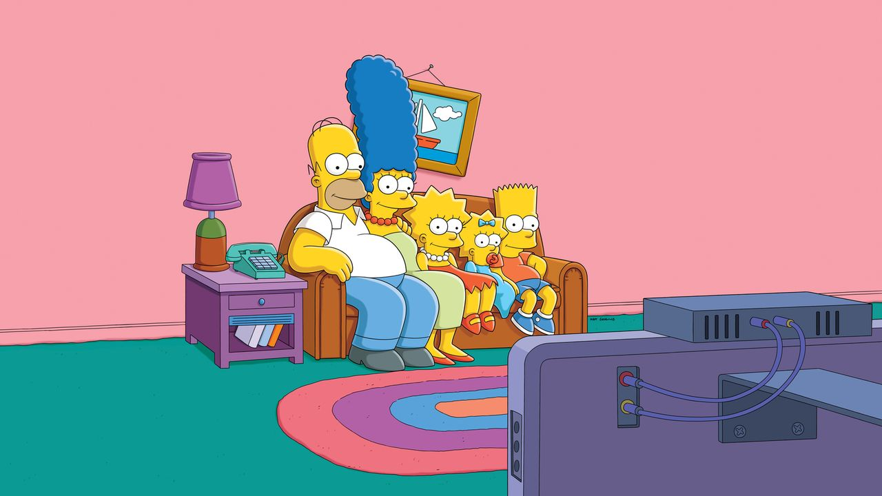 (26. Staffel) - Eine Familie mit ganz besonderem Pfiff: Maggie (2.v.r.), Marge (2.v.l.), Homer (l.), Bart (r.) und Lisa Simpson (M.) ... - Bildquelle: 2014 Fox and its related entities. All rights reserved