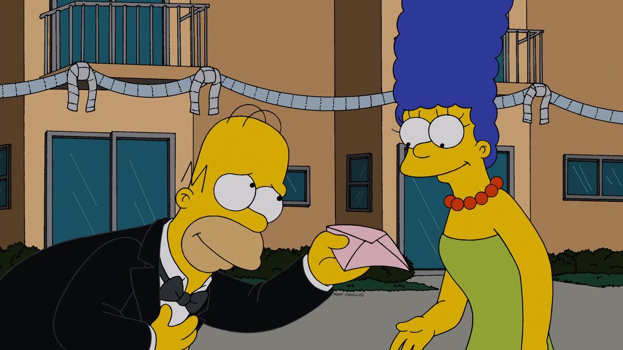 Nachdem Homer (l.) von Marge (r.) vor die Tür gesetzt wurde, versucht er alles, um sie zurückzugewinnen. Doch wie wird Marge darauf reagieren? - Bildquelle: und TM Twentieth Century Fox Film Corporation - Alle Rechte vorbehalten