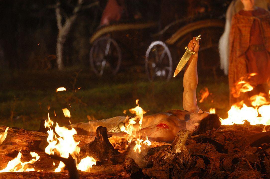 Von den Göttern wird Hercules (Paul Telfer) aus dem Feuer in den Olymp gehoben, und ihm die ersehnte Unsterblichkeit verliehen ... - Bildquelle: Ken George Hallmark Entertainment