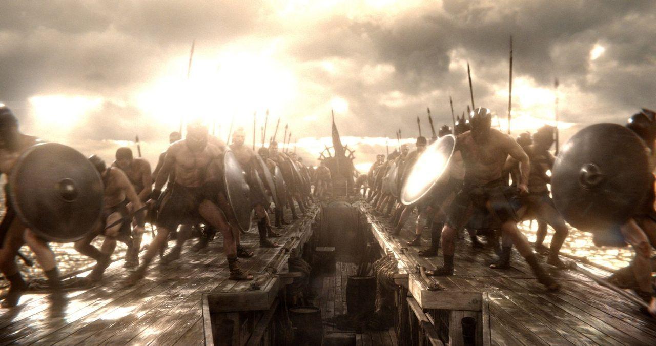Im Kampf werden die Griechen von dem mächtigen Krieger Themistokles angeführt, während die Perser von der kriegerischen Beraterin von Xerxes, Artemi... - Bildquelle: 2014 Warner Bros. Entertainment, Inc.