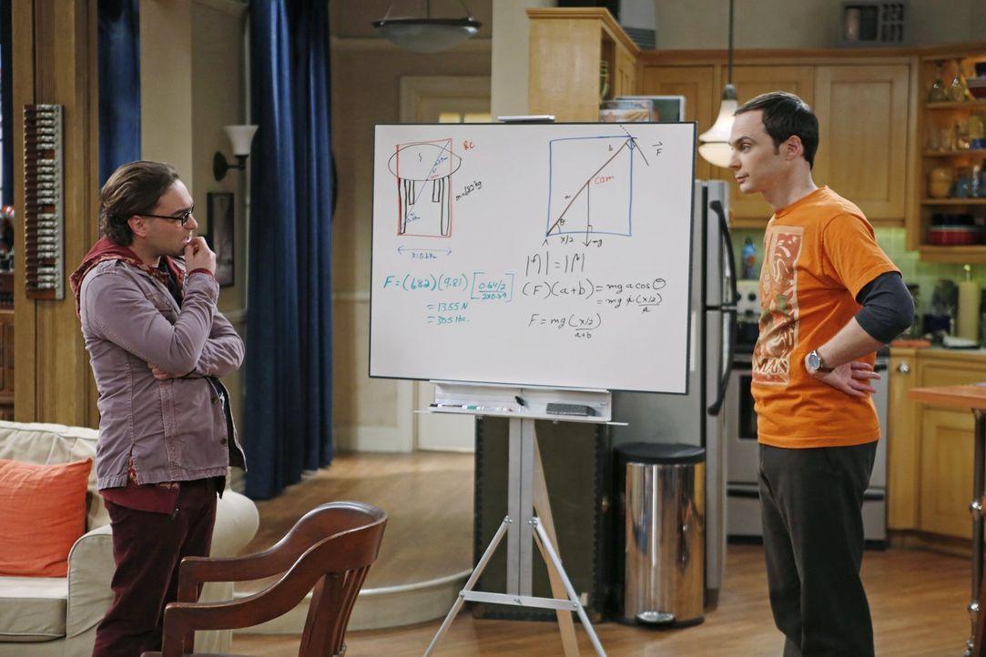 Sheldon (Jim Parsons, r.) und Leonard (Johnny Galecki, l.) stehen vor einer schwierigen Aufgabe, denn sie wollen mathematisch herausfinden, ob man e... - Bildquelle: Warner Brothers Entertainment Inc.