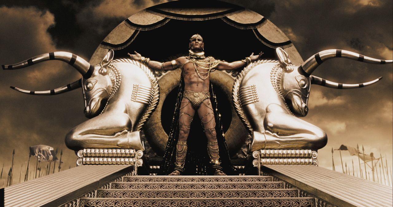 480 vor Christus marschiert Großkönig Xerxes (Rodrigo Santoro) von Persien mit einer riesigen Armee nach Griechenland. Er schickt einen Boten nach... - Bildquelle: TM &   Warner Bros. Entertainment Inc.