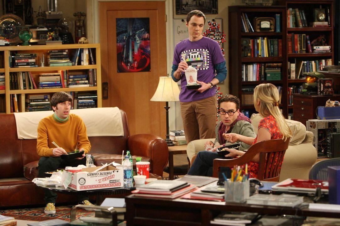 Obwohl Penny (Kaley Cuoco, r.)  versehentlich einen Fleck auf Sheldons (Jim Parsons, 2.v.l.) Kissen gemacht hat, kann er ihr nicht verzeihen. Leonar... - Bildquelle: Warner Bros. Television
