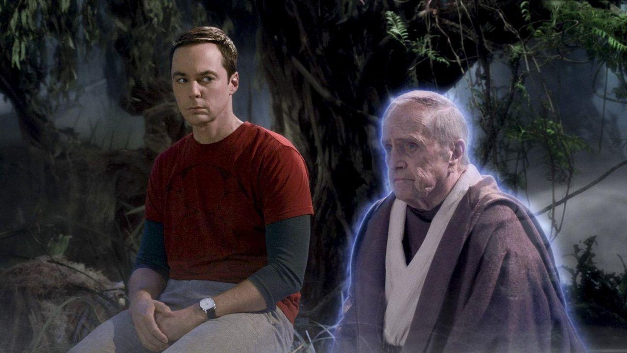 """Sheldon (Jim Parsons, l.) hofft auf den Ratschlag von dem alten """"Professor Proton"""" Arthur Jeffries (Bob Newhart, r.), denn Sheldon will unbedingt de... - Bildquelle: Warner Bros. Television"""