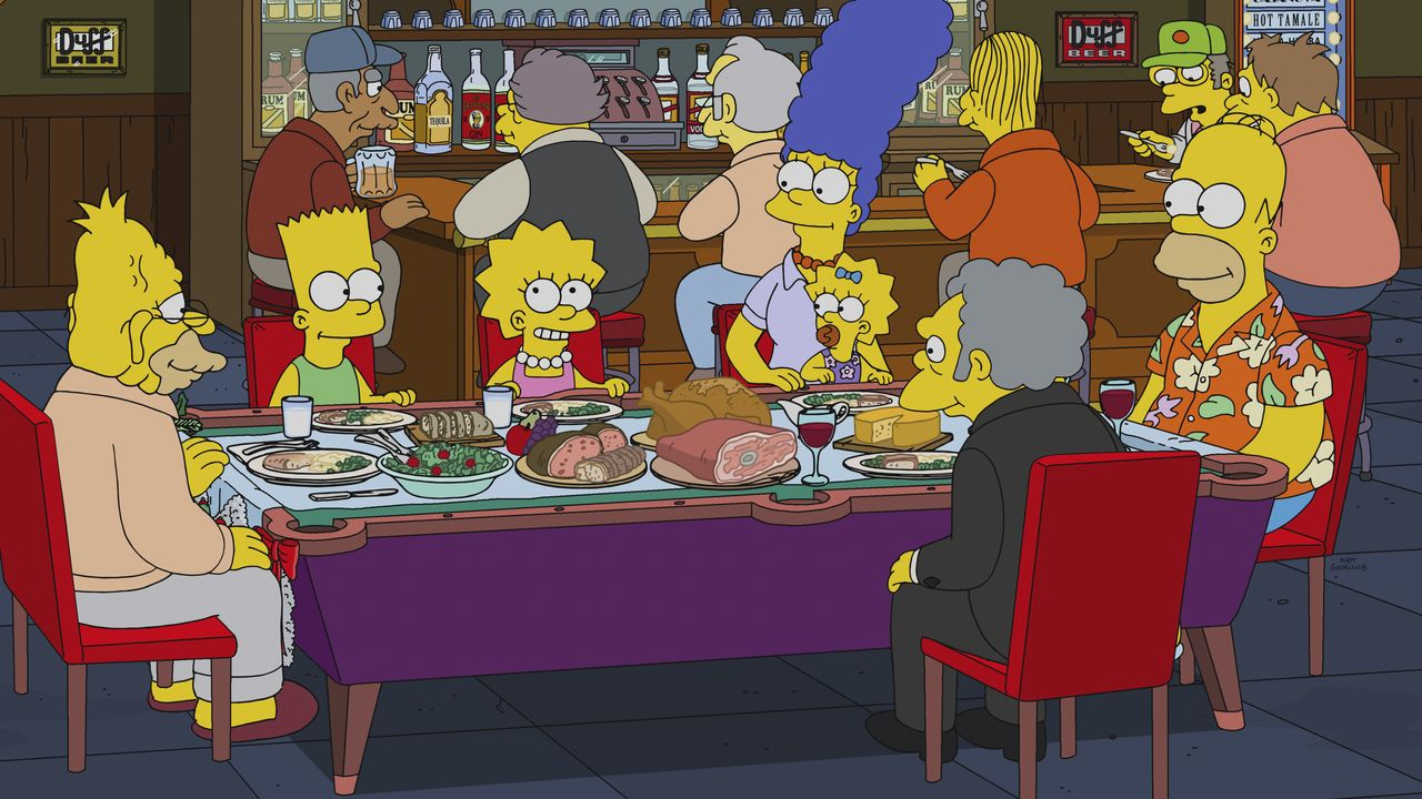 (vorne v.l.n.r.) Grampa; Bart; Lisa; Marge; Maggie; Moe; Homer - Bildquelle: 2018-2019 Fox and its related entities. All rights reserved.