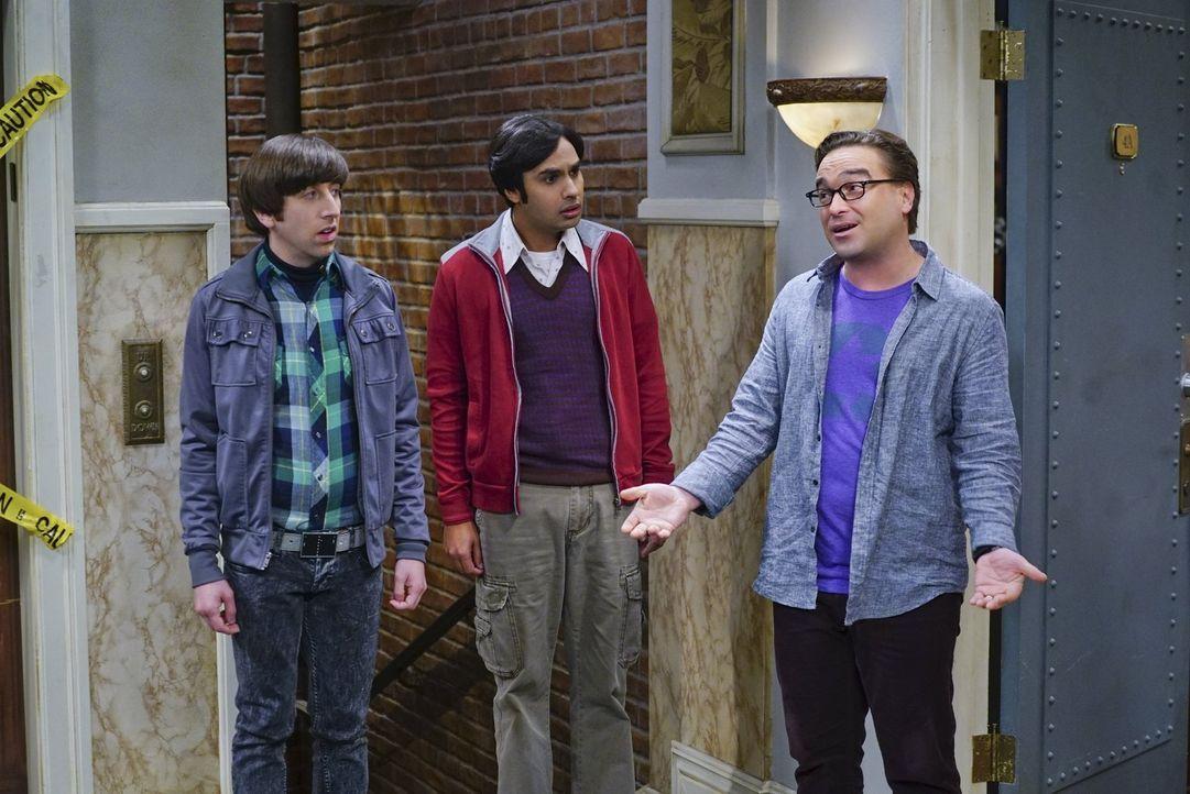 """Howard (Simon Helberg, l.) und Raj (Kunal Nayyar, M.) sind irritiert, dass Leonard (Jim Parsons, r.) und Sheldon nicht gemeinsam """"Game of Thrones"""" s... - Bildquelle: 2016 Warner Brothers"""