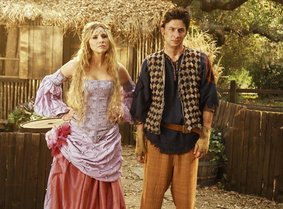 Gemeinsam nehmen es die Prinzessin (Sarah Chalke, l.) und der Dorftrottel (Zach Braff, r.) mit den gefährlichen Monstern auf ... - Bildquelle: Touchstone Television