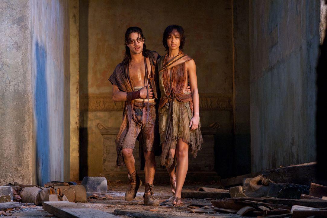 Während Naevia (Cynthia-Addai Robinson, r.) Nasir (Pana Hema Taylor, l.) gesund pflegt, wagen sich Spartacus, Mira und weitere Kämpfer mitten in die... - Bildquelle: 2011 Starz Entertainment, LLC. All rights reserved.