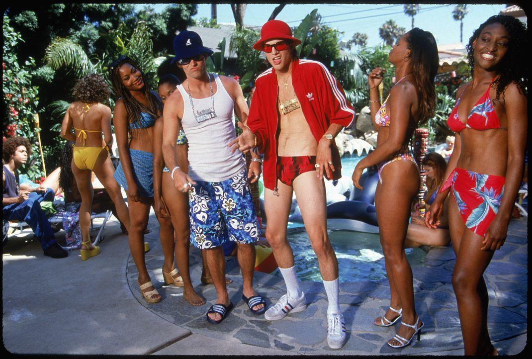 Lassen im Stripclub die Puppen tanzen, dummerweise mit dem Geld von Fremden: Jesse (Ashton Kutcher, 3.v.r.) und Chester (Seann William Scott, 4.v.r.... - Bildquelle: 2000 - 20th Century Fox - All Rights Reserved.