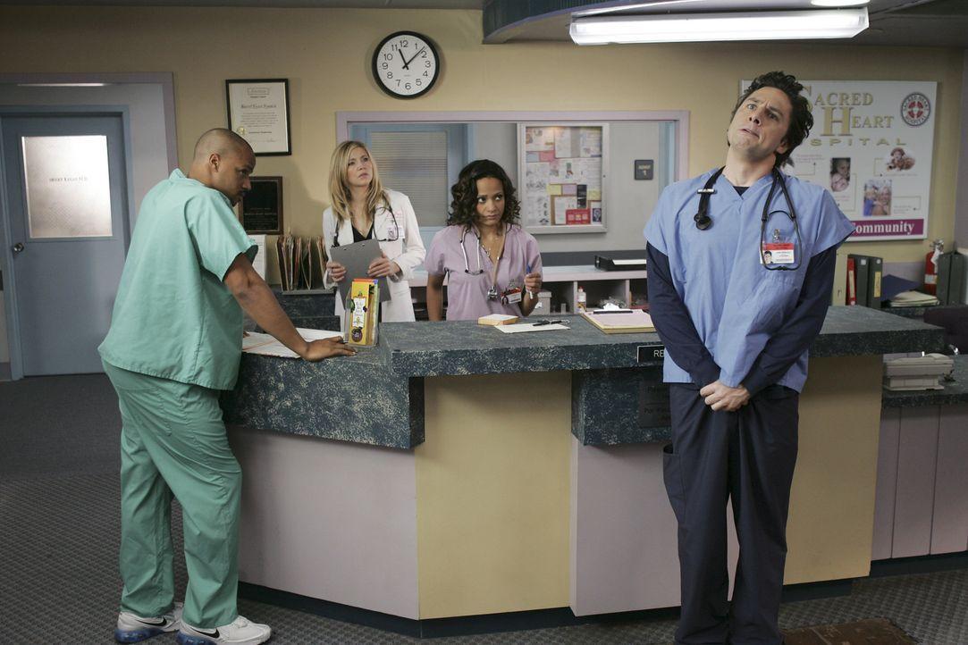 J.D. (Zach Braff, r.) hat einen Durchhänger: Seine Freundin hat ihn verlassen und zu allem Überschuss diagnostiziert Cox bei ihm eine seltene Krei... - Bildquelle: Touchstone Television