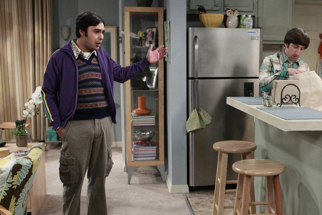 Nervös wartet Raj (Kunal Nayyar, l.) auf die Untersuchungsergebnisse einer Weltraummission, bei der er geholfen hat. Howard (Simon Helberg, r.) vers... - Bildquelle: Warner Bros. Television