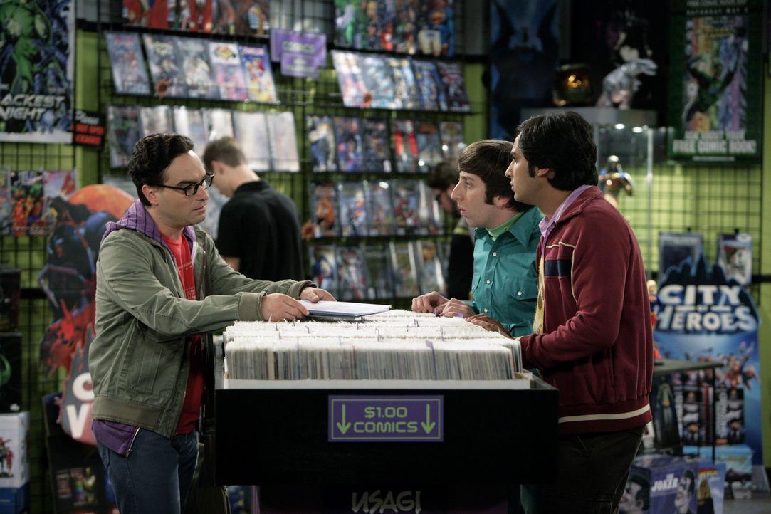 Als Leonard (Johnny Galecki, l.) im Comicbuchladen auftaucht, sind Sheldon, Rajesh (Kunal Nayyar, r.) und Howard (Simon Helberg, M.) überrascht, we... - Bildquelle: Warner Bros. Television