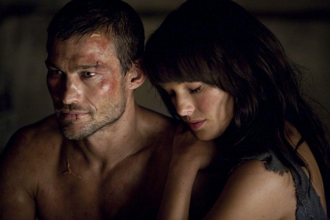 Nach wie vor träumt Spartacus (Andy Whitfield, l.) davon, seine Frau Sura (Erin Cummings, r.) wieder wohlbehalten in den Armen halten zu können. U... - Bildquelle: 2010 Starz Entertainment, LLC