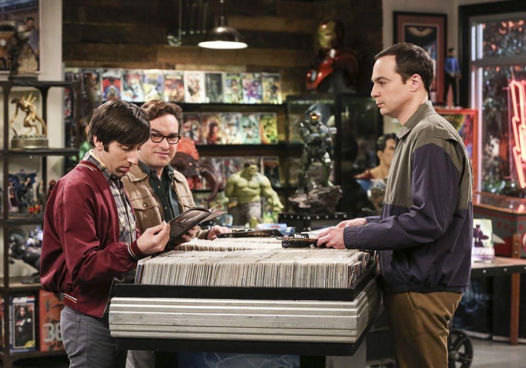 Howard (Simon Helberg, l.) und Leonard (Johnny Galecki, M.) sind sich nicht einige darüber, ob Sheldon (Jim Parsons, r.) seine Geburtstagsüberraschu... - Bildquelle: Warner Bros. Television