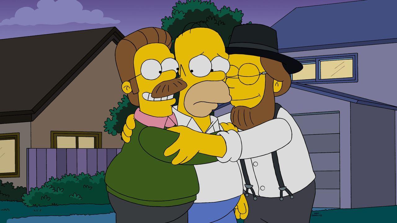 Als ihr Auto auf dem Weg zu Lisa kaputtgeht, treffen Homer (M.), Bart, Maggie und Marge auf Neds (l.) Cousin (r.). Doch schafft es Homer, die Zerstr... - Bildquelle: 2015 Fox and its related entities.  All rights reserved.