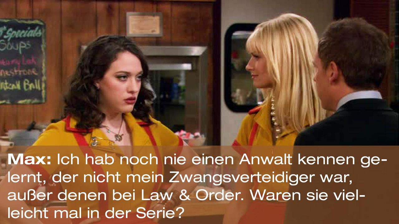 2-broke-girls-zitat-staffel1-episode-20-nebenwirkungen-max-law-order-warnerpng 1600 x 900 - Bildquelle: Warner Brothers Entertainment Inc.