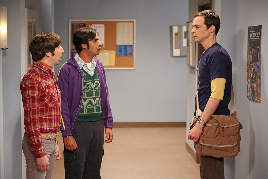 Versuchen herauszufinden, wieso Sheldon (Jim Parsons, r.) jeden Nachmittag um viertel vor drei verschwindet: Howard (Simon Helberg, l.) und Raj (Kun... - Bildquelle: Warner Bros. Television