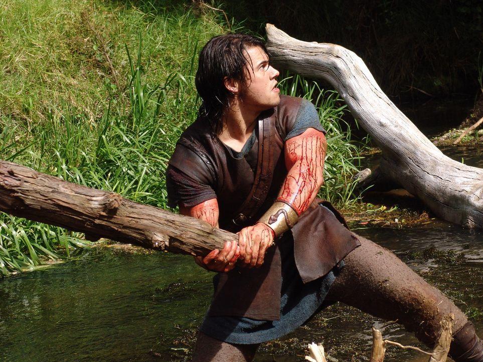 Zunächst versucht Hercules (Paul Telfer), die neunköpfige Wasserschlange Hydra mit einer Keule zu erschlagen, doch sobald er einen Kopf zerschläg... - Bildquelle: Ken George Hallmark Entertainment