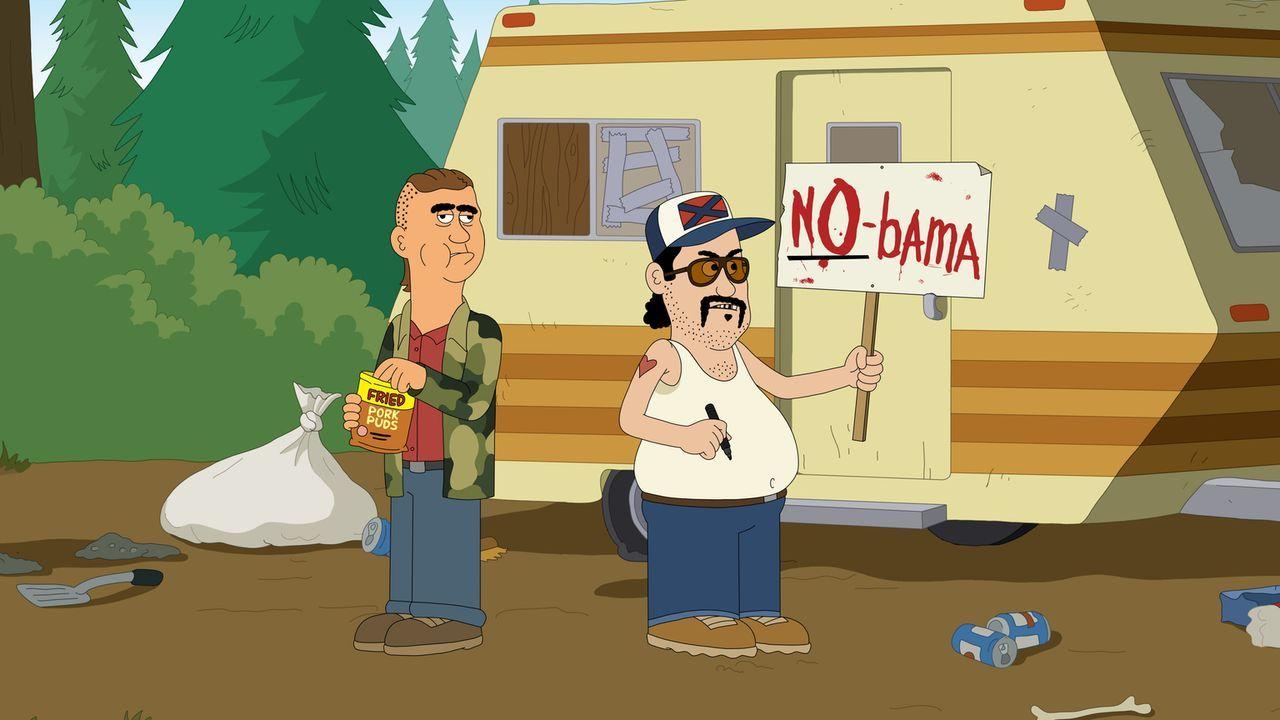 Genau wie Woody sind auch BoDean (l.) und Bobbie (r.) vom Besuch Obamas im Park nicht gerade begeistert ... - Bildquelle: 2014 Twentieth Century Fox Film Corporation and Comedy Partners.  All rights reserved.