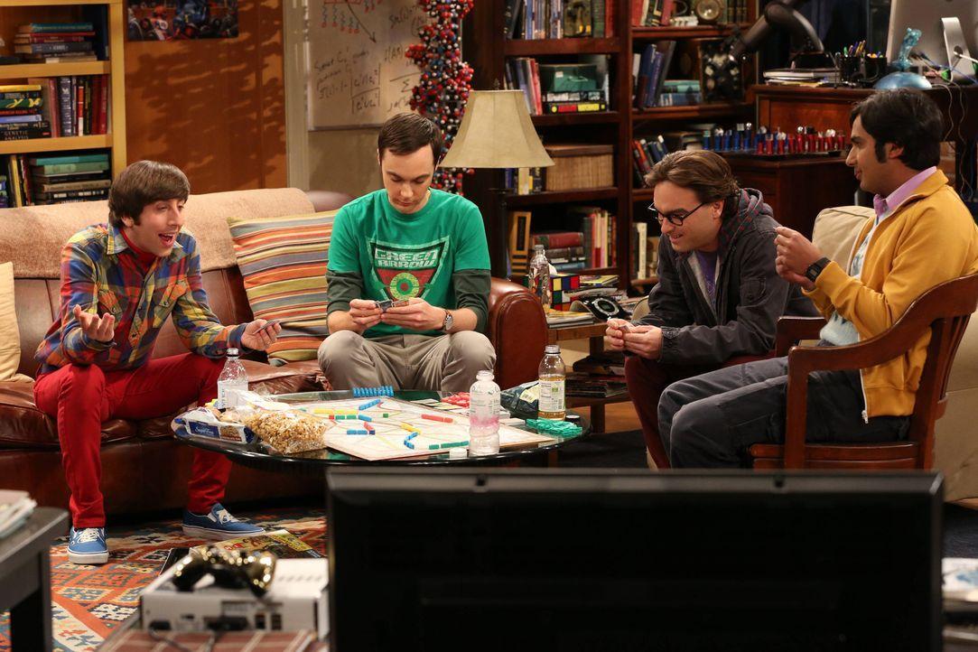 Verbringen einen Spieleabend zusammen: Howard (Simon Helberg, l.), Sheldon (Jim Parsons, 2.v.l.), Leonard (Johnny Galecki, 2.v.r.) und Raj (Kunal Na... - Bildquelle: Warner Bros. Television