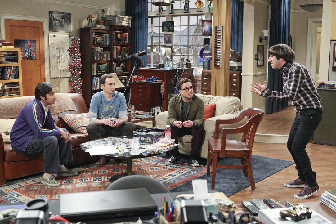 Howard (Simon Helberg, r.) braucht dringend Rat von seinen Freunden Leonard (Johnny Galecki, 2.v.r.), Raj (Kunal Nayyar, l.) und Sheldon (Jim Parson... - Bildquelle: 2016 Warner Brothers