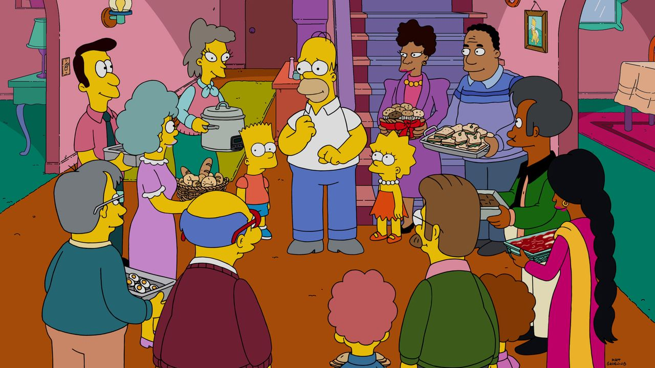 Während Marge im Gefängnis ist, haben Homer (M.), Bart (6.v.l.) und Lisa (6.v.r.) so manche Probleme mit den Dingen, die normalerweise Marge managed... - Bildquelle: 2015 Fox and its related entities.  All rights reserved.