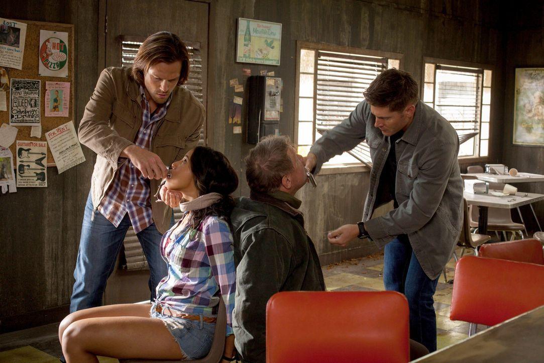 Um die beiden Jäger Tracy (Olivia Ryan Stern, 2.v.l.) und Irv (Paul Rae, 2.v.r.) zu retten, begeben sich Sam (Jared Padalecki, l.) und Dean (Jensen... - Bildquelle: 2013 Warner Brothers