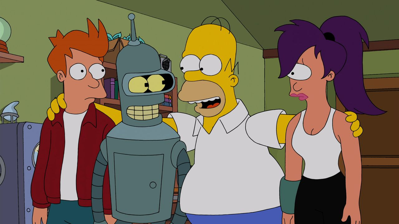 Ist Homer (2.v.r.) wirklich daran Schuld, dass Fry (l.), Bender (2.v.l.) und Leela (r.) in der Zukunft mit mutierten Hasen zu kämpfen haben? - Bildquelle: 2014 Twentieth Century Fox Film Corporation. All rights reserved.