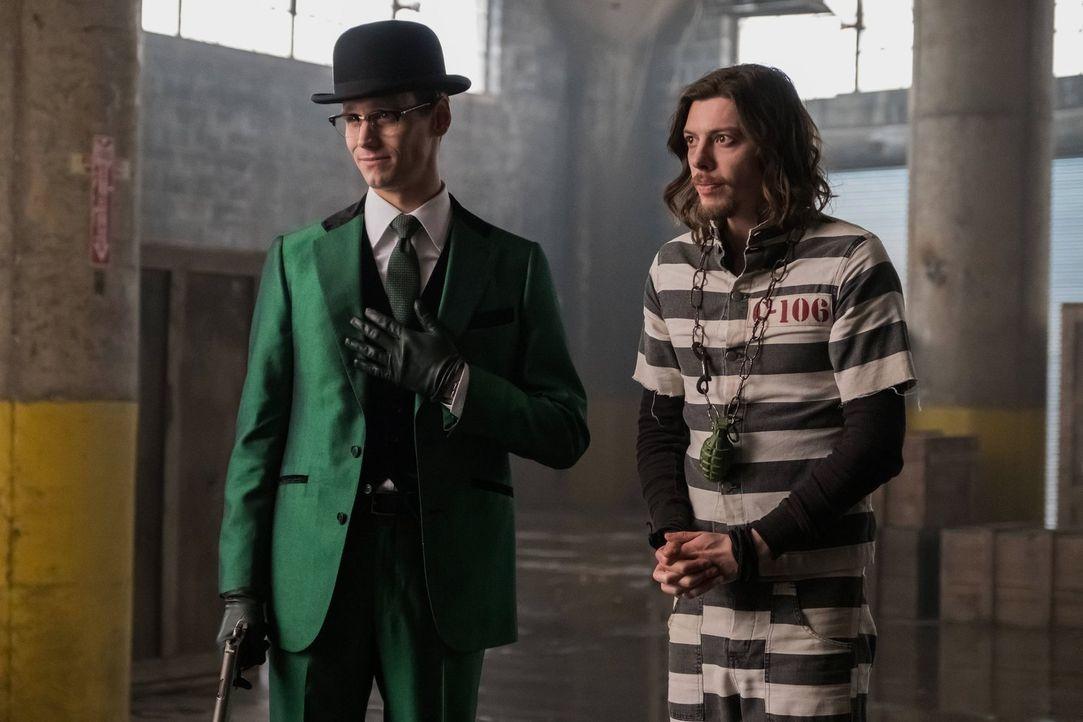 Gotham versinkt durch die Verbreitung des Virus' immer mehr im Chaos. Während Gordon weiter nach dem Gegenmittel sucht, haben Barbara und Nygma (Cor... - Bildquelle: Warner Brothers