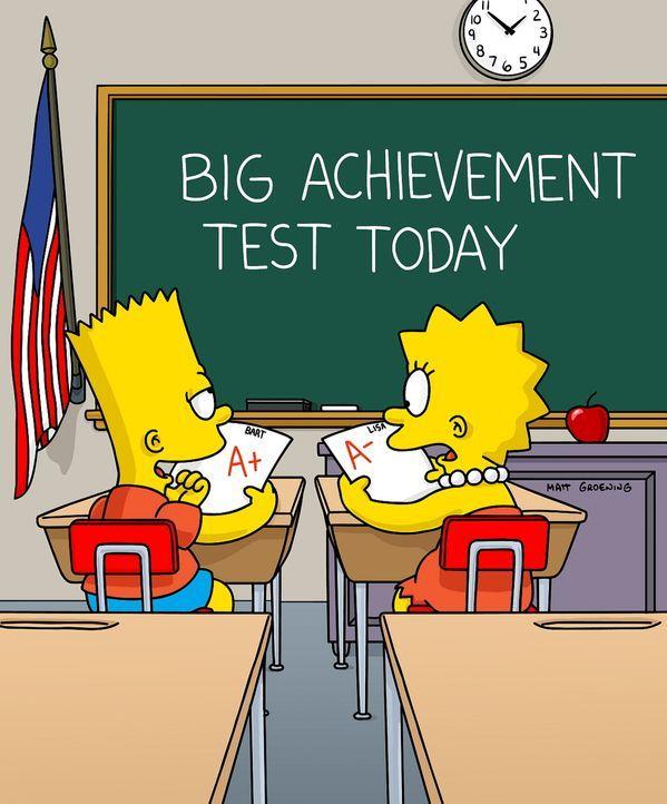 Bart (l.) schneidet bei einem Grundschulleistungstest so schlecht ab, dass er in die dritte Klasse zurückgestuft wird. Lisa (r.) hingegen so gut, da... - Bildquelle: TWENTIETH CENTURY FOX FILM CORPORATION