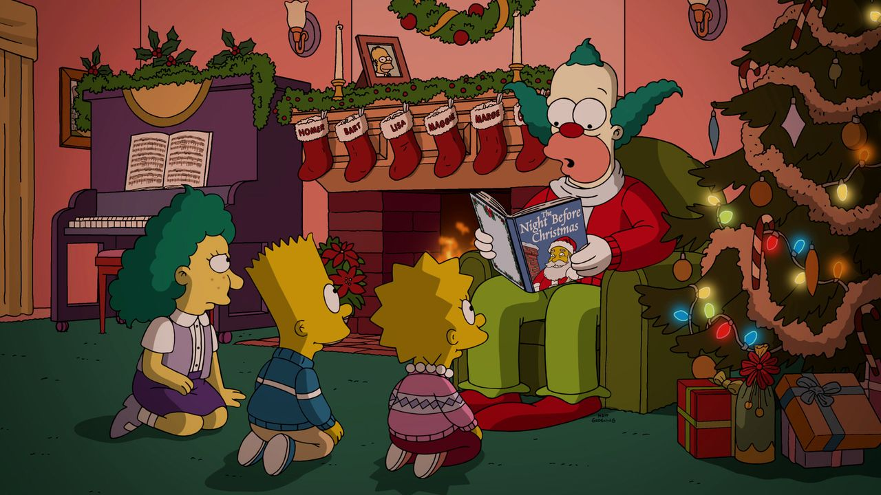 Es scheint, als würde Krusty (r.) zu Weihnachten den Kindern (v.l.n.r.) Sophie, Bart und Lisa schöne Weihnachtsgeschichten vorlesen, doch bei ihm is... - Bildquelle: 2016-2017 Fox and its related entities. All rights reserved.