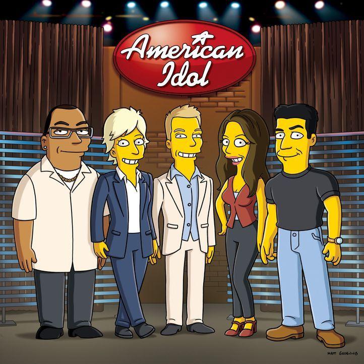 American Idol: (v.l.n.r.) Randy Jackson, Ellen DeGeneres, Ryan Seacrest, Kara DioGuardi und Simon Cowell ... - Bildquelle: und TM Twentieth Century Fox Film Corporation - Alle Rechte vorbehalten