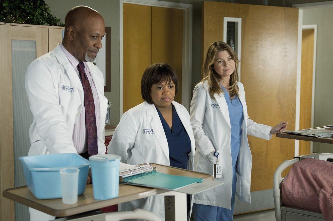 Haben einen harten Arbeitstag vor sich: Webber (James Pickens, Jr., l.) und Bailey (Chandra Wilson, M.) und Meredith (Ellen Pompeo, r.) ... - Bildquelle: ABC Studios