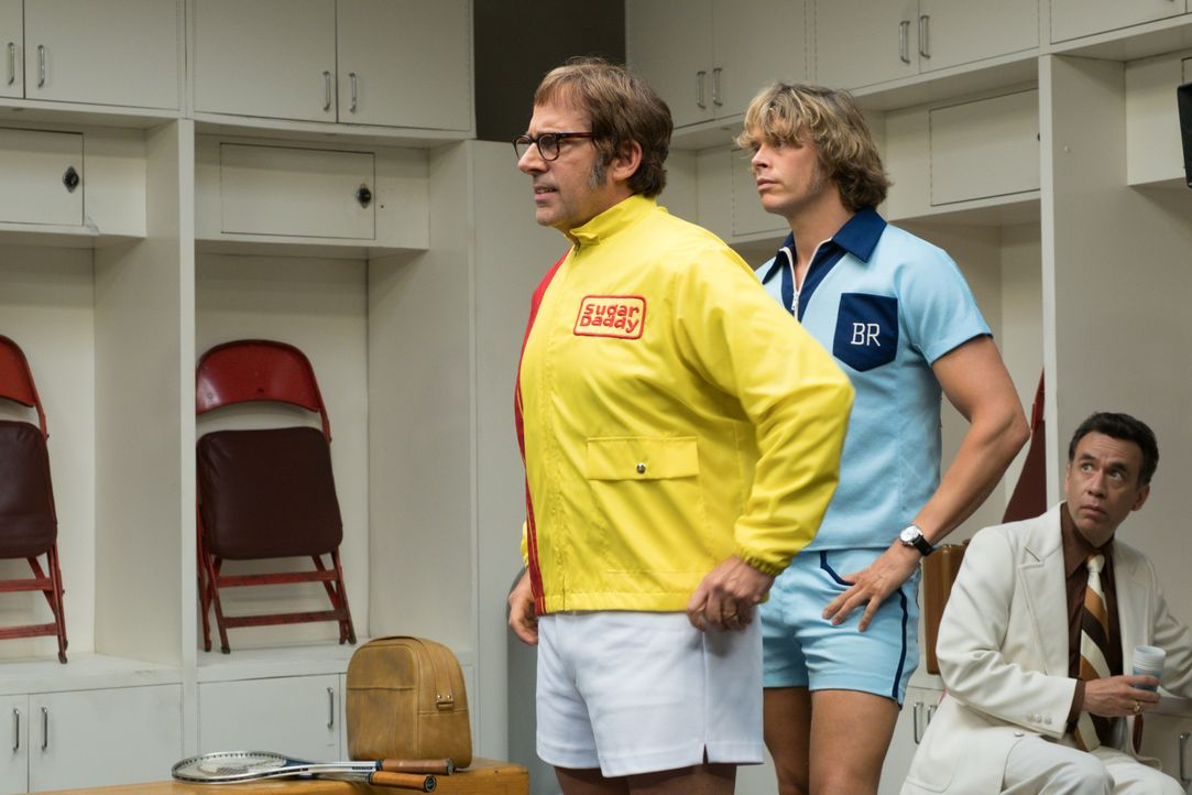 Bobby Riggs (Steve Carell, l.); Lornie Kuhle (Eric Christian Olsen, r.) - Bildquelle: Melinda Sue Gordon 2017 Twentieth Century Fox Film Corporation.  All rights reserved. / Melinda Sue Gordon