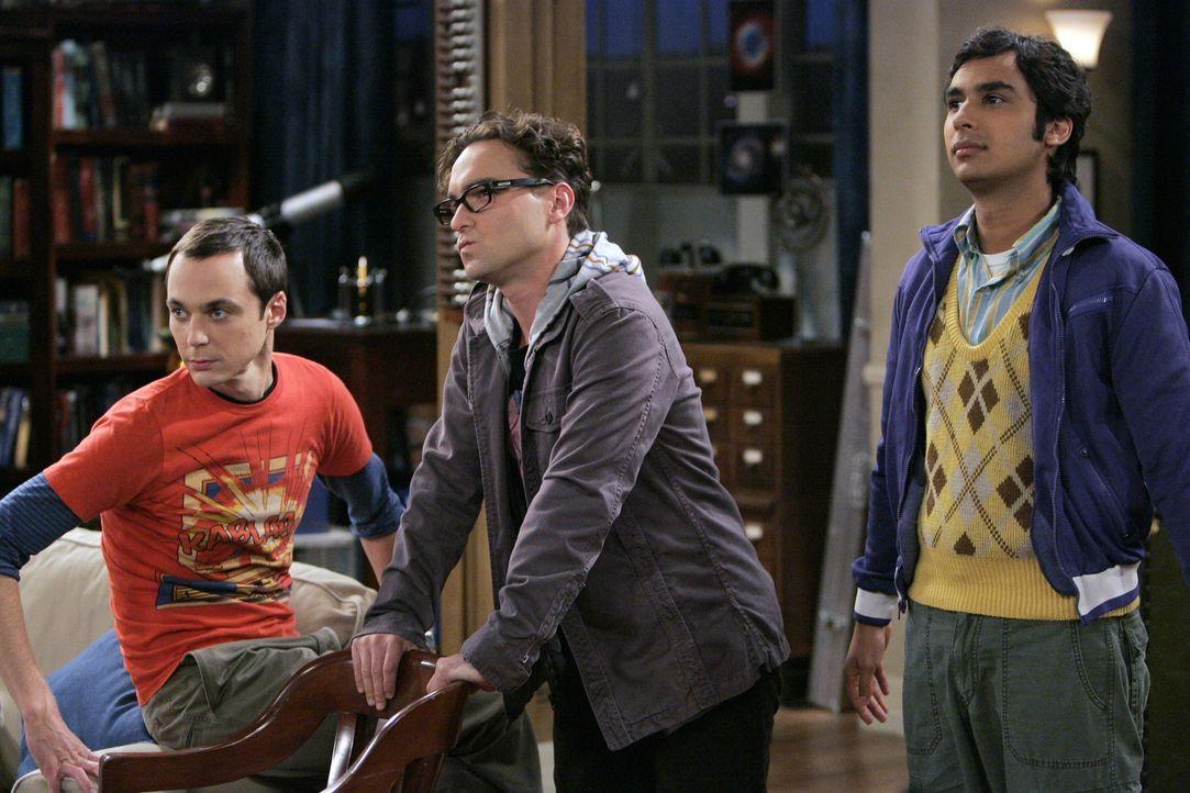 Sind von Pennys Besuch überrascht: Sheldon (Jim Parsons, l.), Leonard (Johnny Galecki, M.) und Rajesh (Kunal Nayyar, r.) ... - Bildquelle: Warner Bros. Television