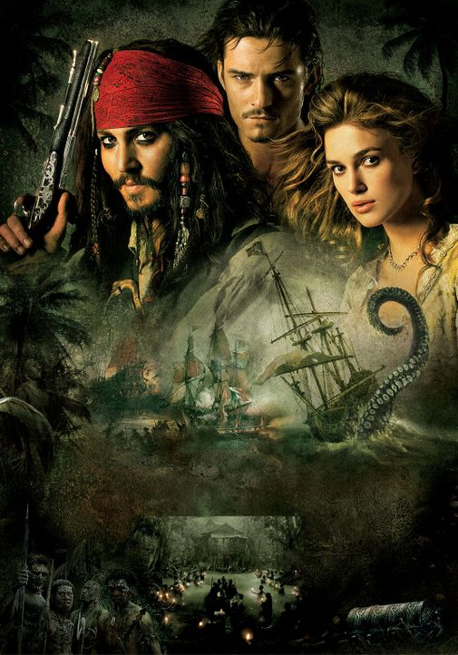 PIRATES OF THE CARIBBEAN  - FLUCH DER KARIBIK 2 - Artwork: mit (v.l.n.r.) Johnny Depp, Orlando Bloom und Keira Knightley - Bildquelle: Peter Mountain Disney Enterprises, Inc.  All rights reserved