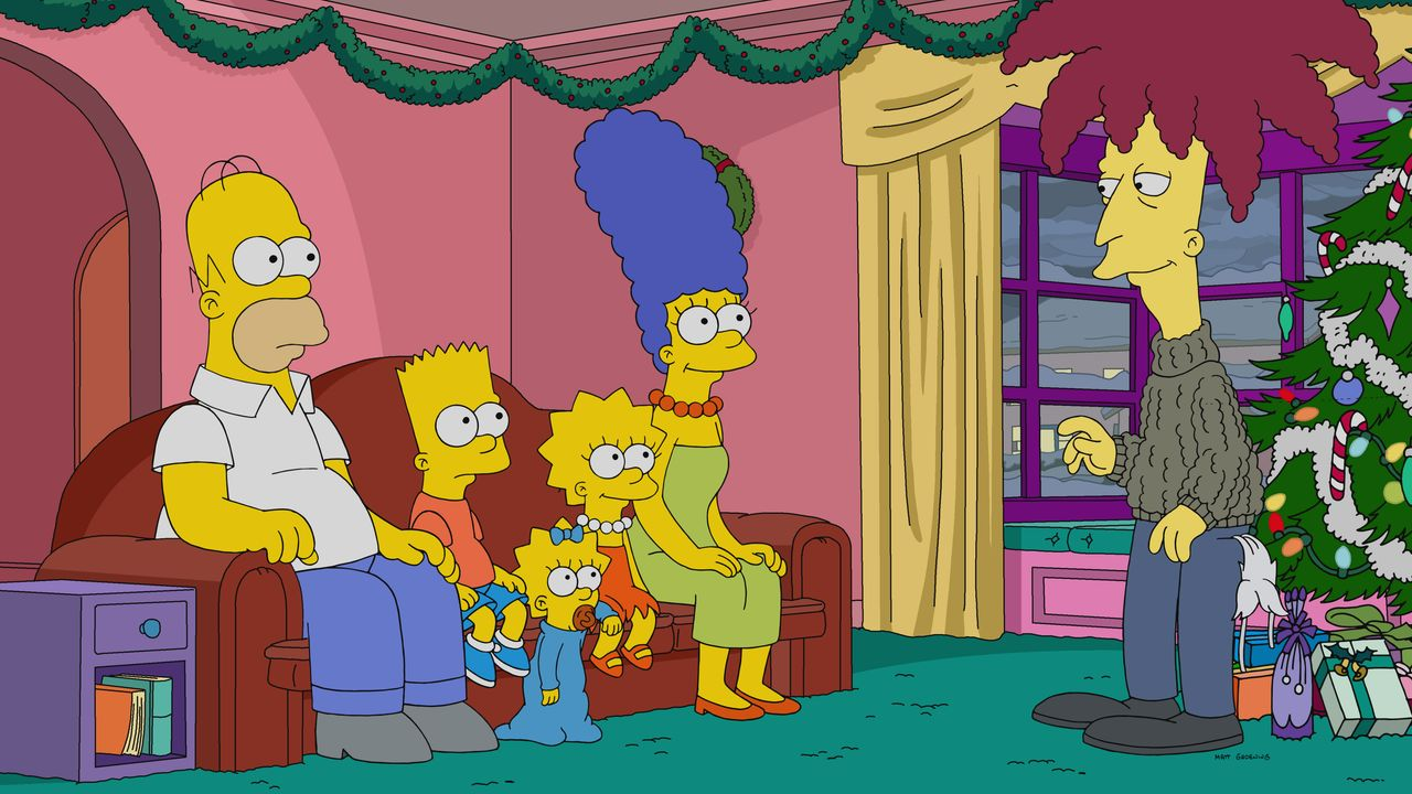 (v.l.n.r.) Homer; Bart; Maggie; Lisa; Marge; Tingeltangel-Bob - Bildquelle: 2019-2020 Twentieth Century Fox Film Corporation.  All rights reserved.