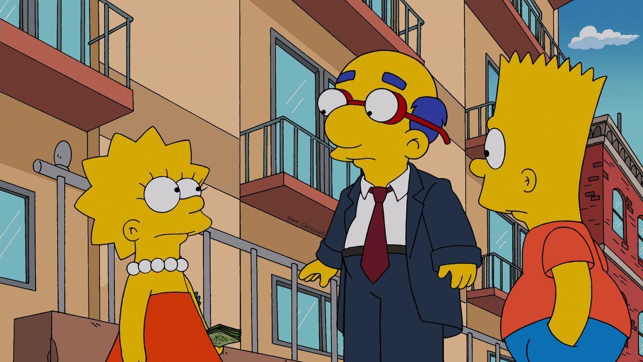Bart blödelt mit Epoxidharz herum und versaut Milhouse die Haare, dass er sie ihm abrasieren muss.  Als Milhouse plötzlich eine Glatze hat, müssen L... - Bildquelle: und TM Twentieth Century Fox Film Corporation - Alle Rechte vorbehalten