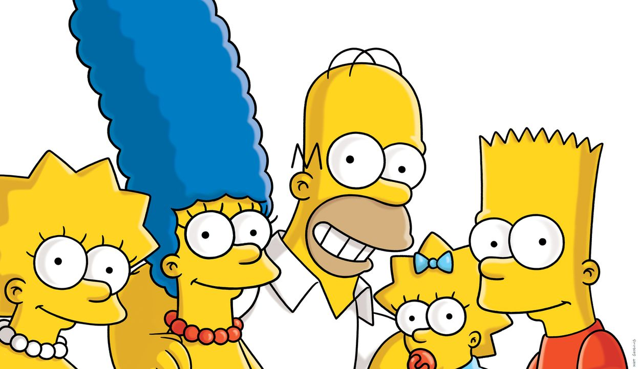 (26. Staffel) - Die Simpsons sind eine nicht alltägliche Familie: Maggie (2.v.r.), Marge (2.v.l.), Lisa (l.), Homer (M.) und Bart (r.) ... - Bildquelle: 2014 Fox and its related entities. All rights reserved