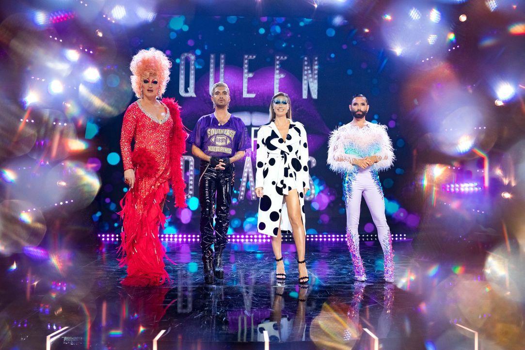 (v.l.n.r.) Olivia Jones; Bill Kaulitz; Heidi Klum; Conchita Wurst - Bildquelle: Martin Ehleben ProSieben / Martin Ehleben